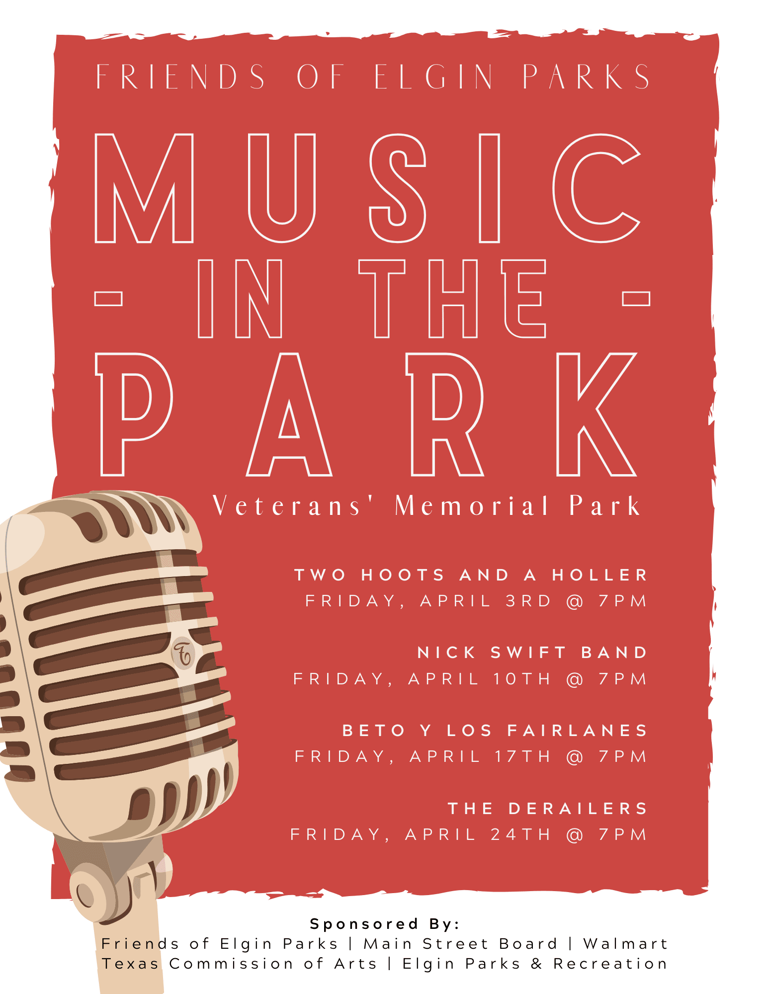 music in the park flyer 2020