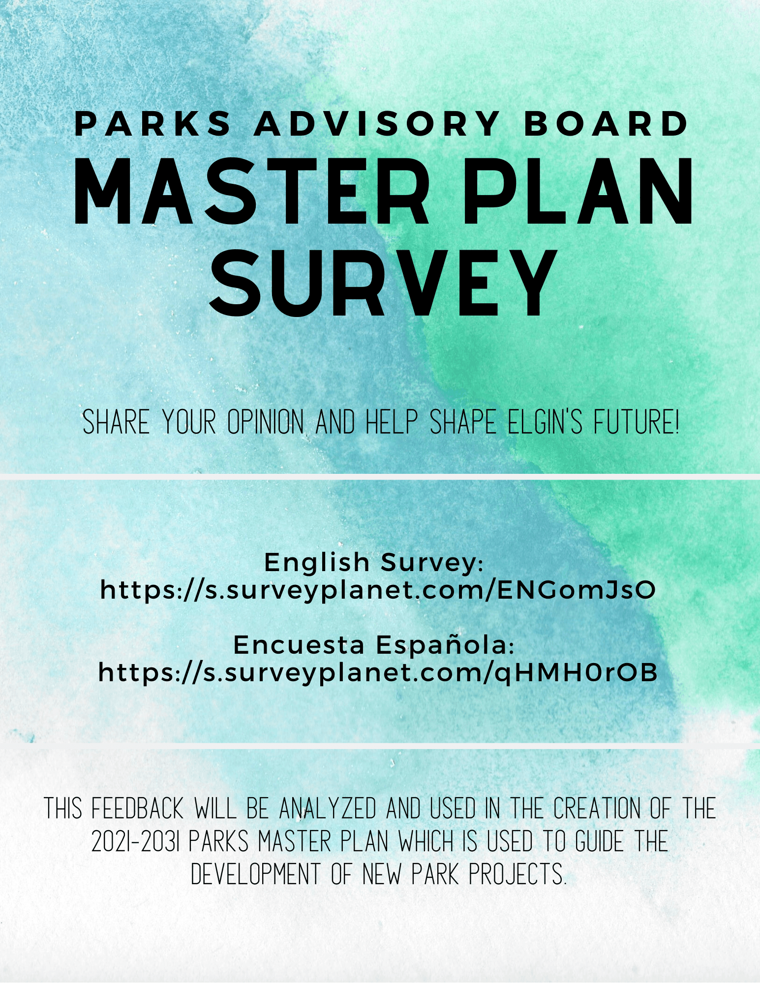 parks master plan survey flyer