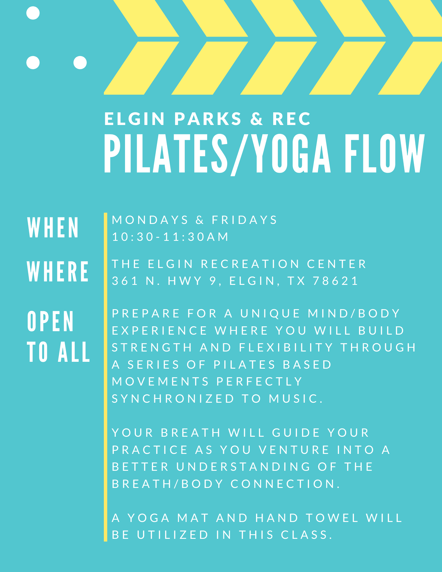 pilates and yoga flow mondays and fridays